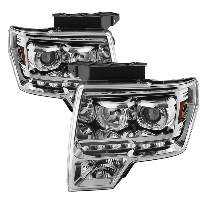 Td Led Halo Projector Headlights Chrome 09 14 Ford F 150