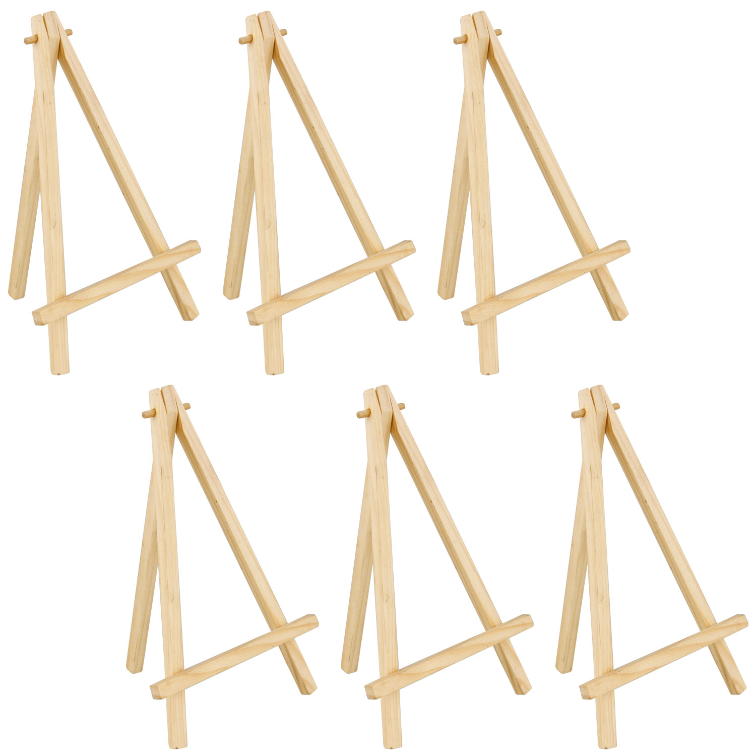 "6 Pack of US Art Supply 8"" Mini Wood Display Easel Natural Wood Finish Picture"