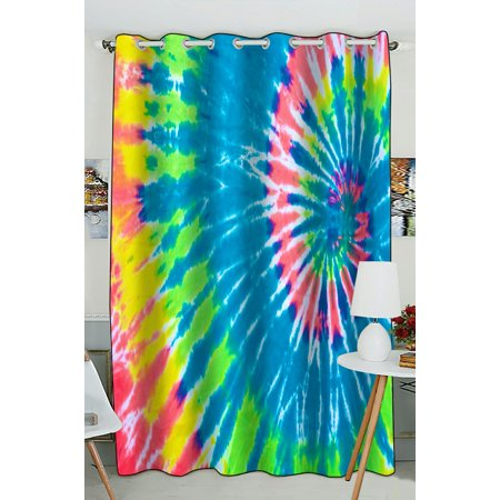 PHFZK Beautiful Muti-Color Tie Dye Swirl Pattern Window Curtain Blackout Curtain For Bedroom living Room Kitchen Room 52x84 inches One Piece (Tie Dye Room)