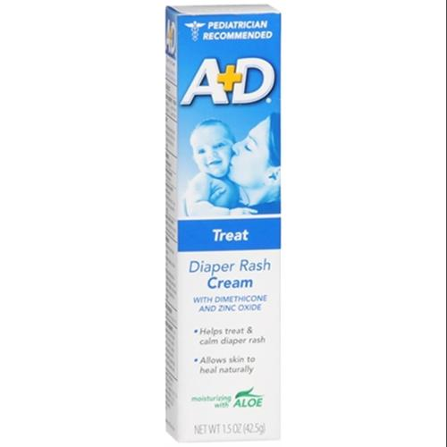 A+D Diaper Rash Cream, Zinc Oxide, with Aloe 1.50 oz (Pack of 2)