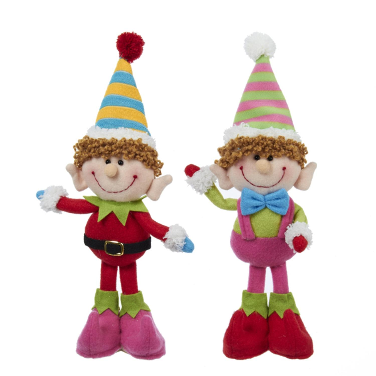Club Pack of 12 Plush Standing Elf Christmas Decorations 9""