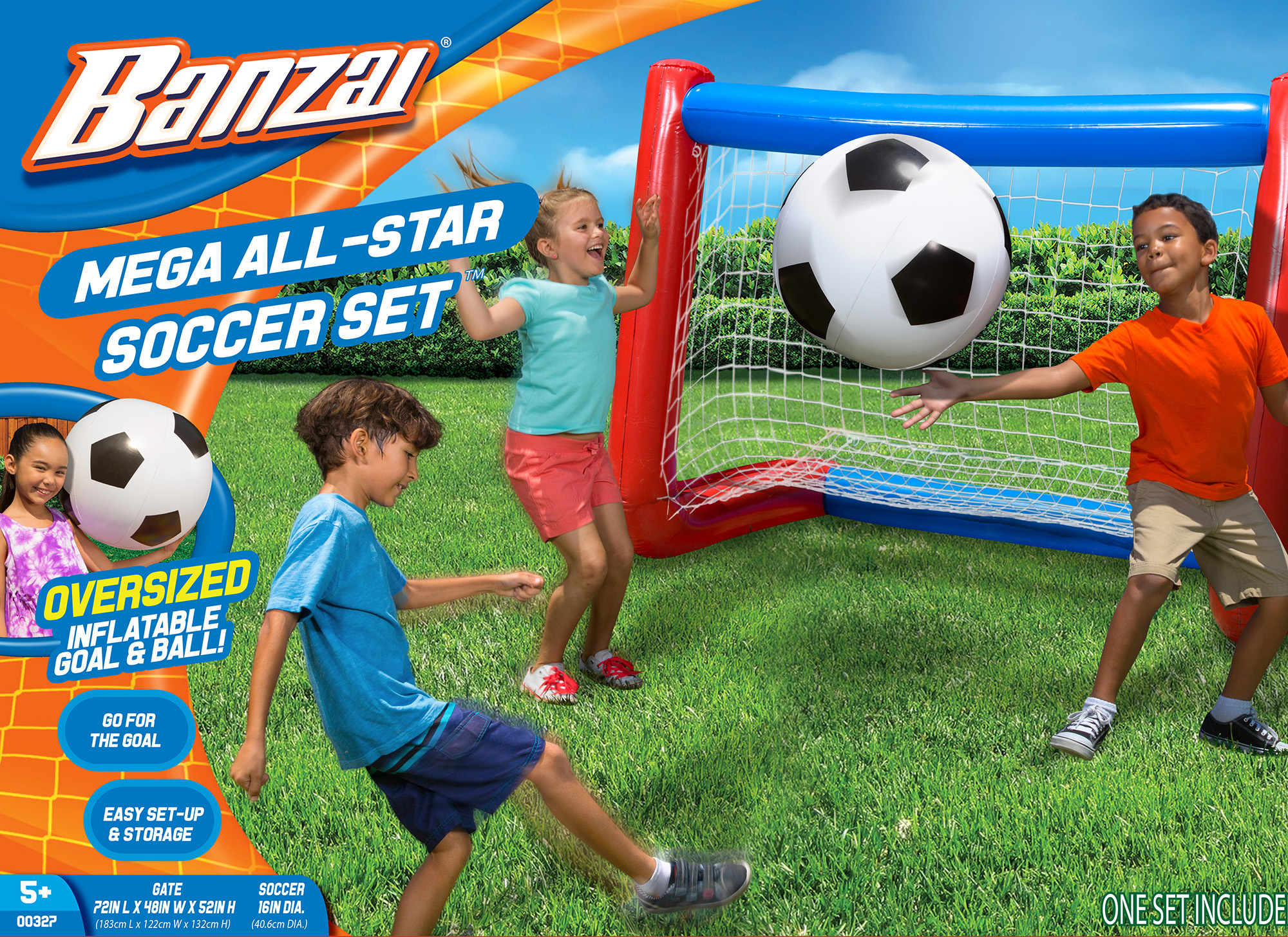 Banzai Mega All-Star Soccer Set with Inflatable Soccer Goal Net and Ball by Banzai