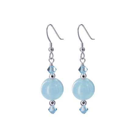 Gem Avenue 925 Sterling Silver Made With Swarovski Elements Blue Agate Crystal Handmade Drop Earrings