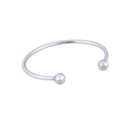 Polished Stainless Steel Plain Round Fashion Open Cuff Bangle Bracelet ()