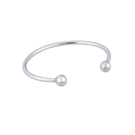 Womens Polished Stainless Steel Bracelet - Polished Stainless Steel Plain Round Fashion Open Cuff Bangle Bracelet