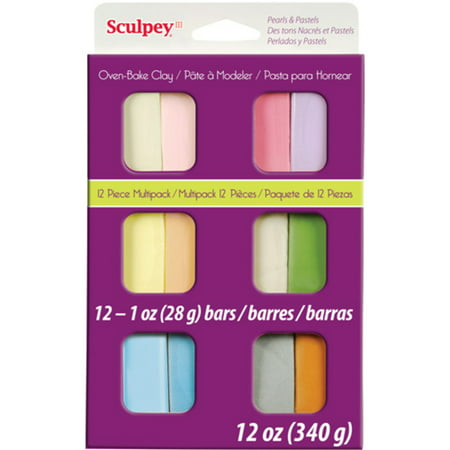 Pine Clay - Sculpey Assorted Pastels Oven-Bake Clay, 1 ounce each, 12 Pieces