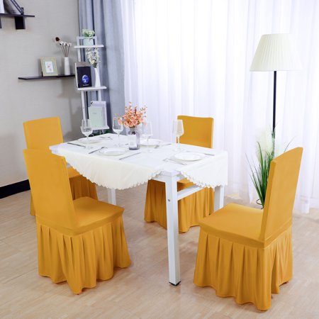 Fabulous Spandex Pleated Dining Chair Covers Round Slipcovers Dark Yellow 4Pcs Squirreltailoven Fun Painted Chair Ideas Images Squirreltailovenorg