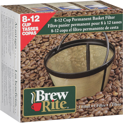 Brew Rite 8-12 Cup Permanent Coffee Filter, Basket Style