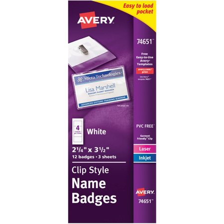 Avery Top Loading Garment Friendly Tm  Clip Style Name Badges 74651  2 1 4   X 3 1 2    Pack Of 12