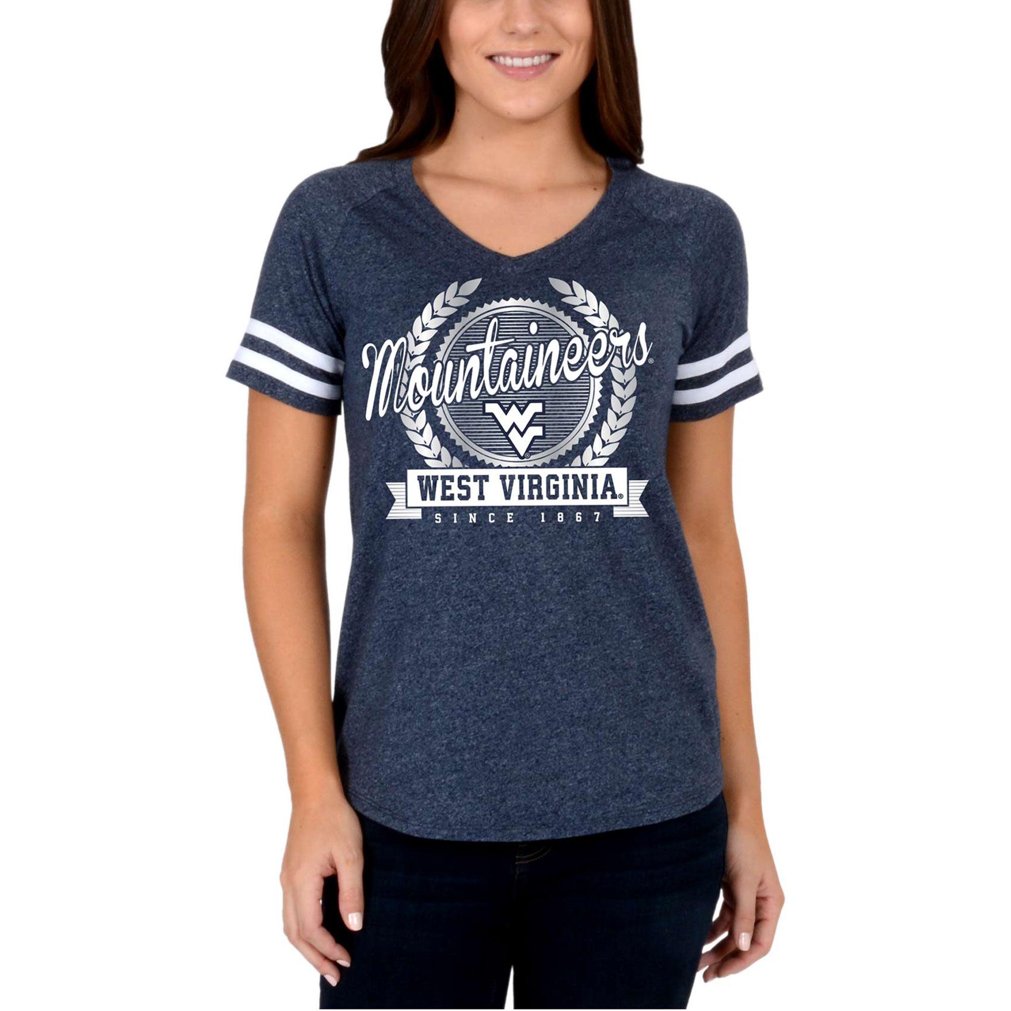 Women's Navy West Virginia Mountaineers Laurel Script V-Neck T-Shirt
