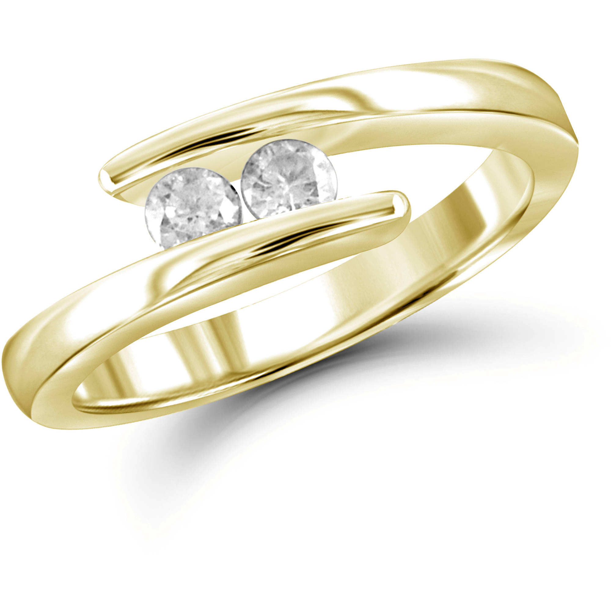 JewelersClub 1/4 Carat T.W. Round-Cut White Diamond 10kt Yellow Gold Two-Stone Ring
