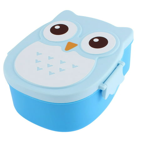 unique bargains cartoon owl shape plastic 2 compartments lunch box case food storage container. Black Bedroom Furniture Sets. Home Design Ideas
