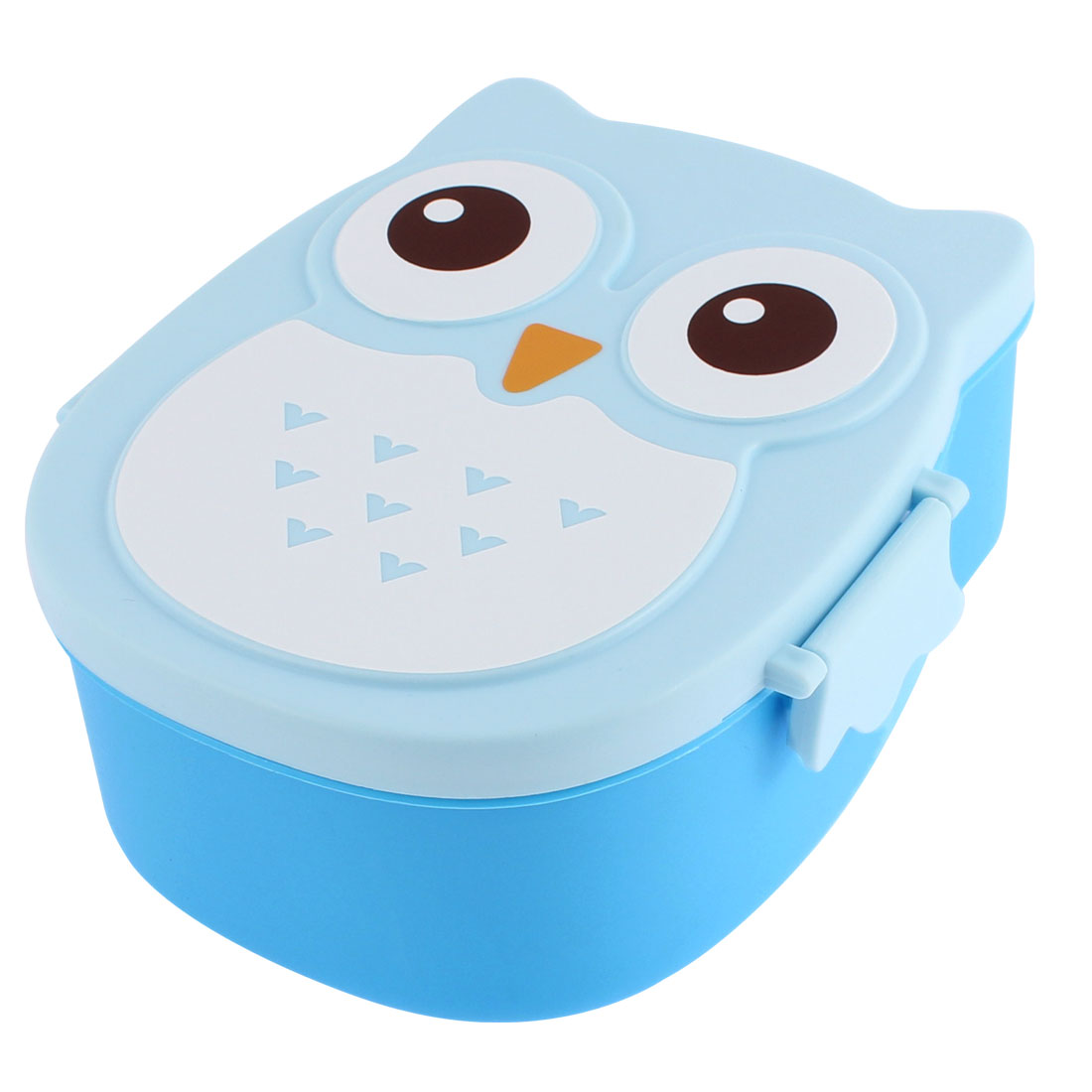Unique Bargains Cartoon Owl Shape Plastic 2 Compartments Lunch Box Case Food Storage Container
