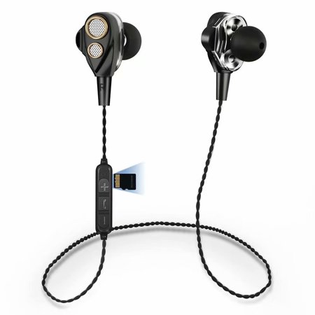 Cyber Monday!!Bluetooth Headphones, Wireless Neckband Earphones Dual Drivers with Mic in-Ear Earbuds Bluetooth Stereo Headset Microphone Sports Running Gym Headphones Deep Bass