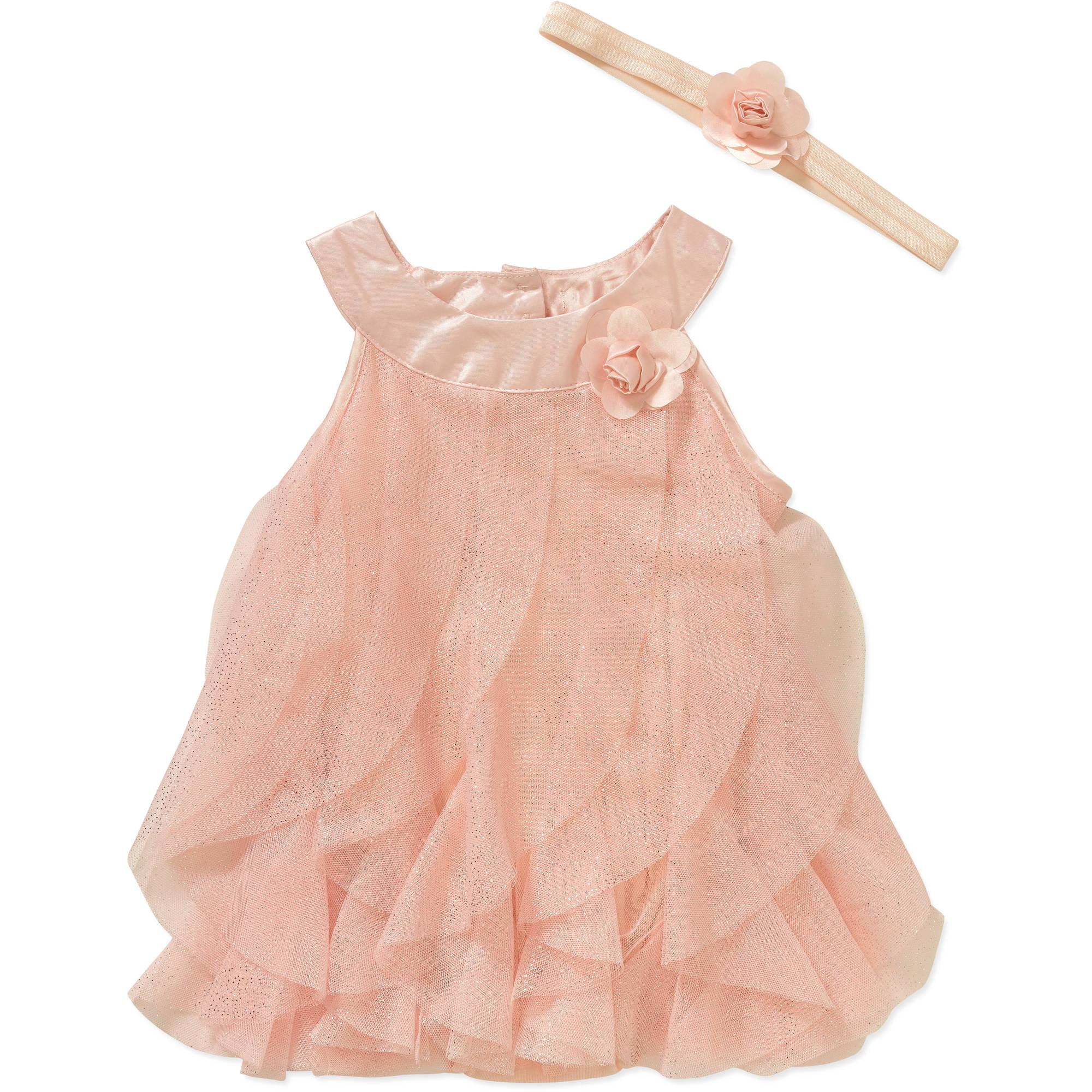 George Newborn Baby Girls' Chiffon Ruffle Cascade Dress with Creeper and Matching Headband