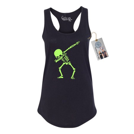 Dabbin Skeleton Halloween Shirt Womens Racerback Tank Top - Skelton Top