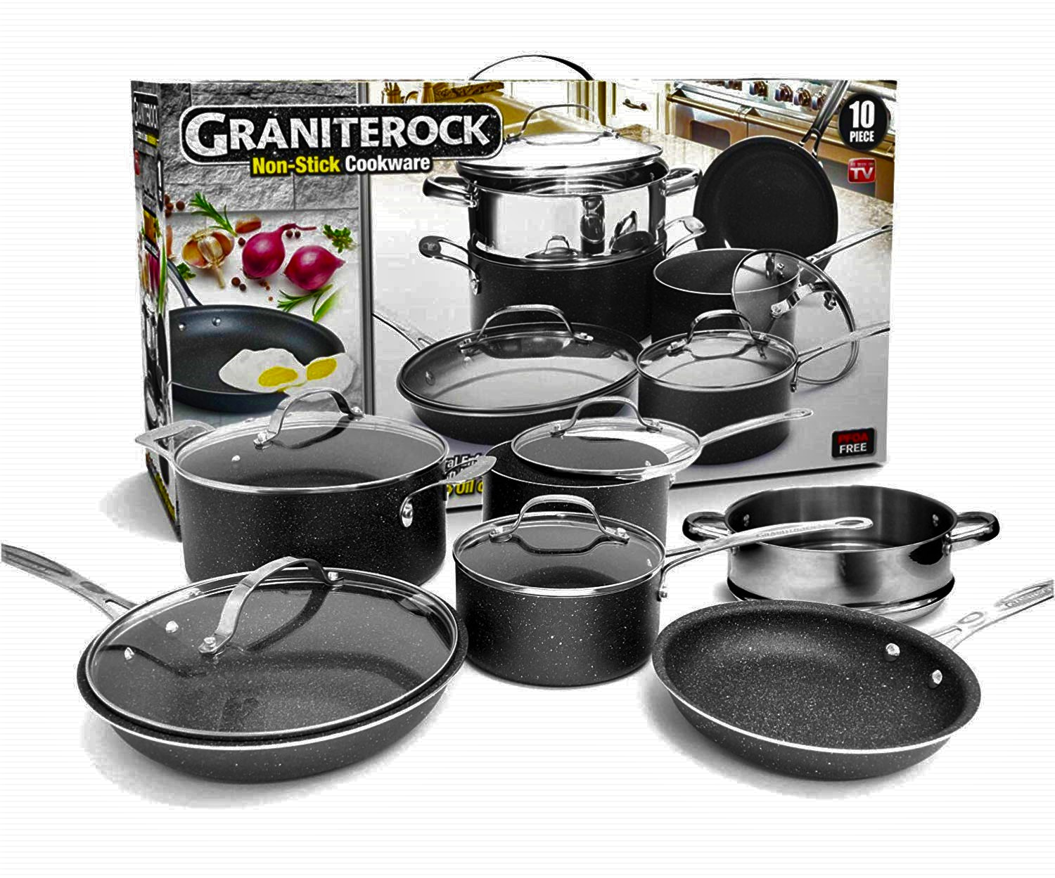 GraniteRock 10-Piece Non-Stick Ultra Durable, Mineral & Granite Coated Scratch Proof Cookware Set by E. Mishan & Sons