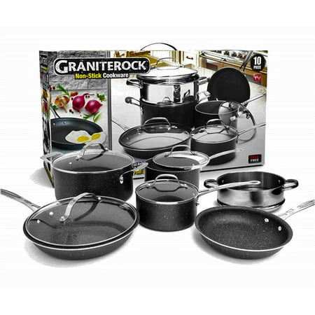 GraniteRock 10-Piece Non-Stick Ultra Durable, Mineral & Granite Coated Scratch Proof Cookware Set