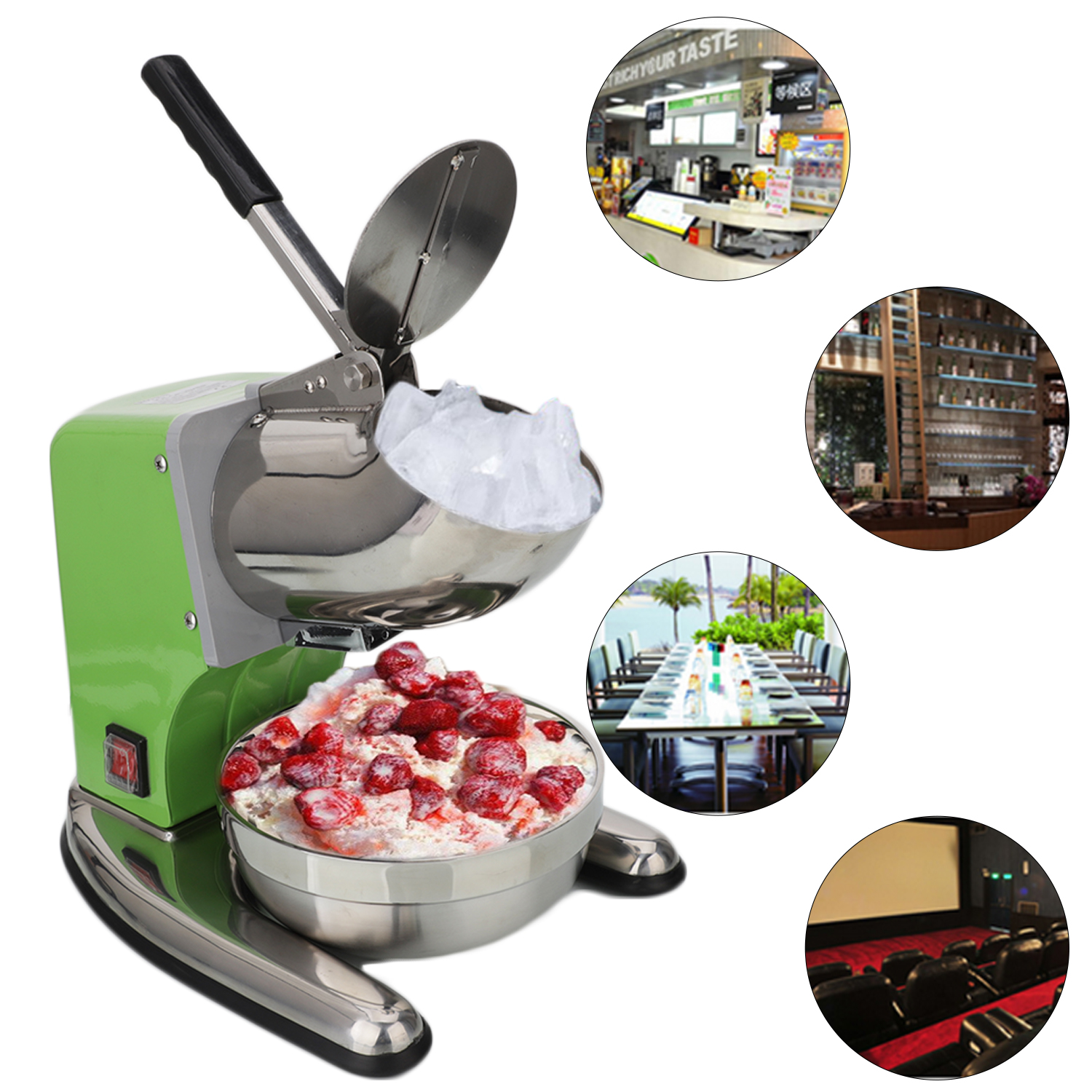 Ktaxon Electric Ice Crusher Shaver Machine Snow Cone Maker Shaved Ice 220lbs/h 200W