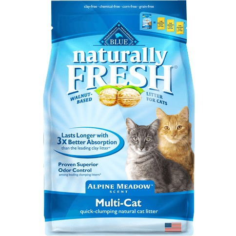 Blue Buffalo Naturally Fresh Alpine Meadow BB10190 Scented Multi-Cat Quick-Clumping Natural Litter Formula, 14 lb, Bag