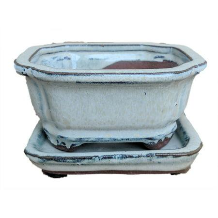 Small Ceramic Bonsai Pot plus Saucer - Beige Flared Rect-4