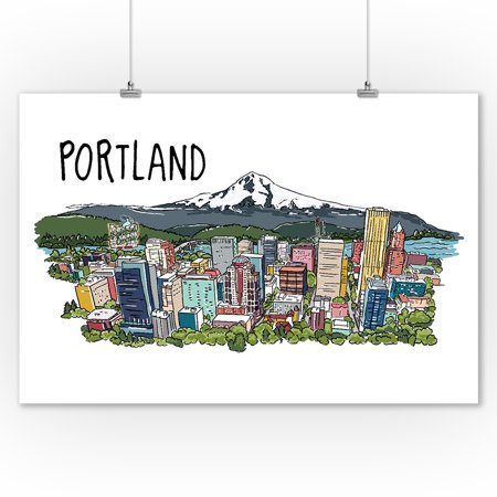 Portland, Oregon - Cityscape - Line Drawing - Lantern Press Artwork (9x12 Art Print, Wall Decor Travel