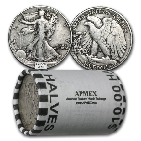 90% Silver Walking Liberty Halves $10 20-Coin Roll Avg