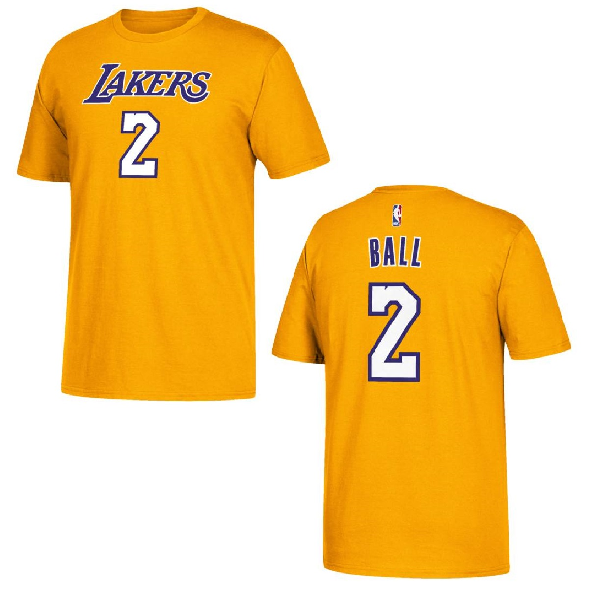 Los Angeles Lakers Lonzo Ball Yellow Gold Name and Number T-Shirt