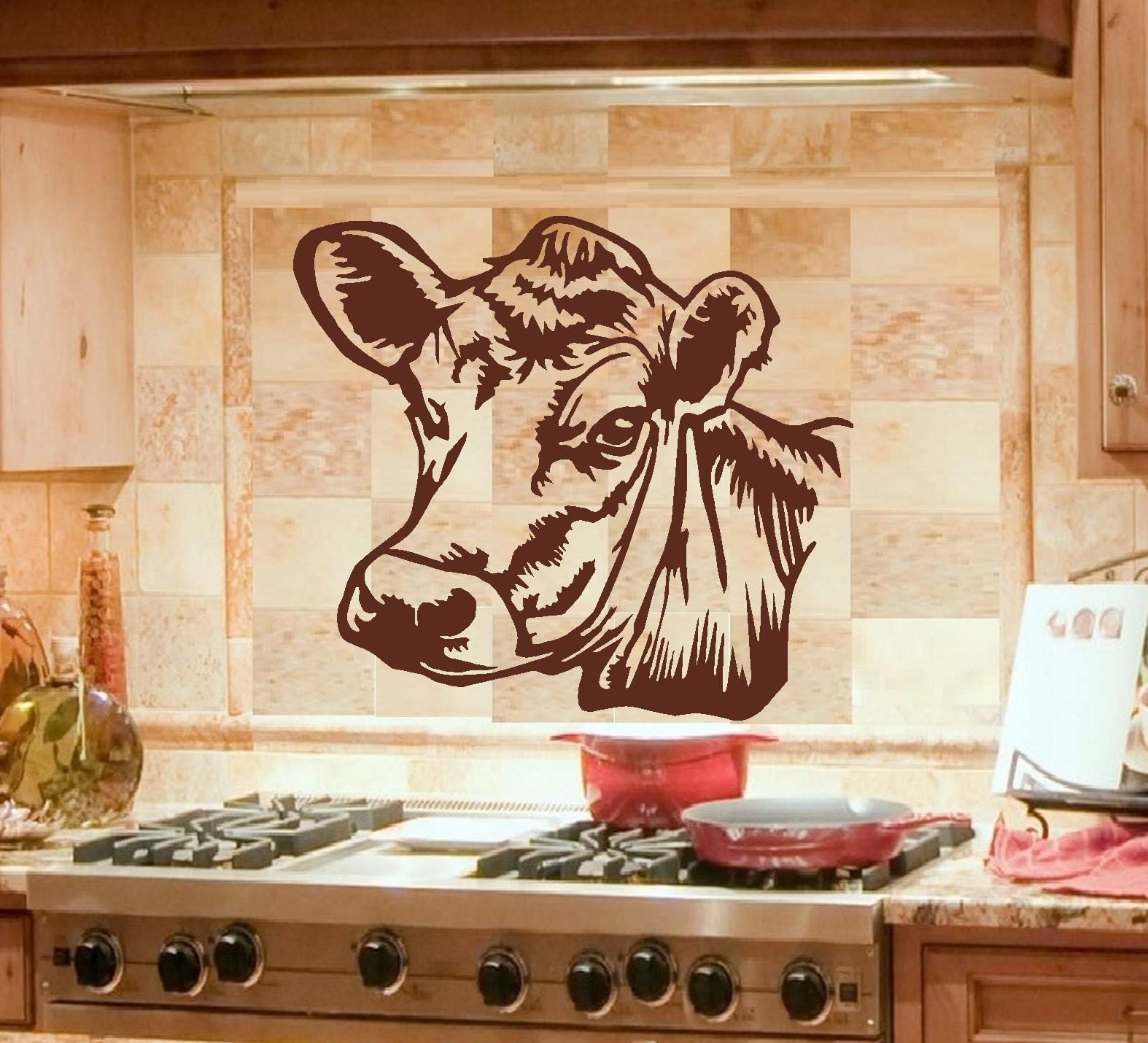 "Cow: Wall or Window Decal ~ 22"" x 24"" (Black)"