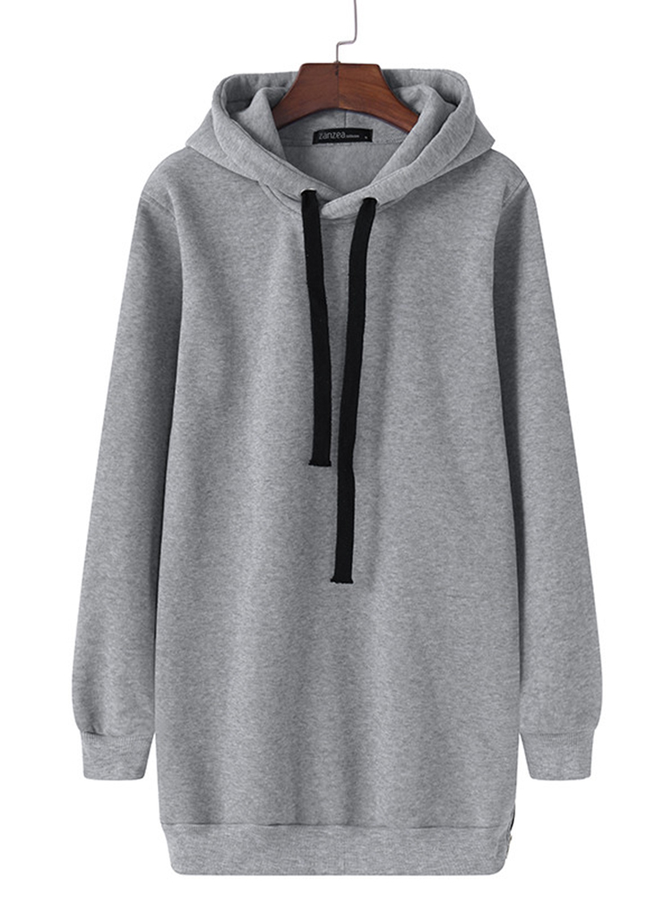 Fashion Womens Hoodies Stylish Long Zipper