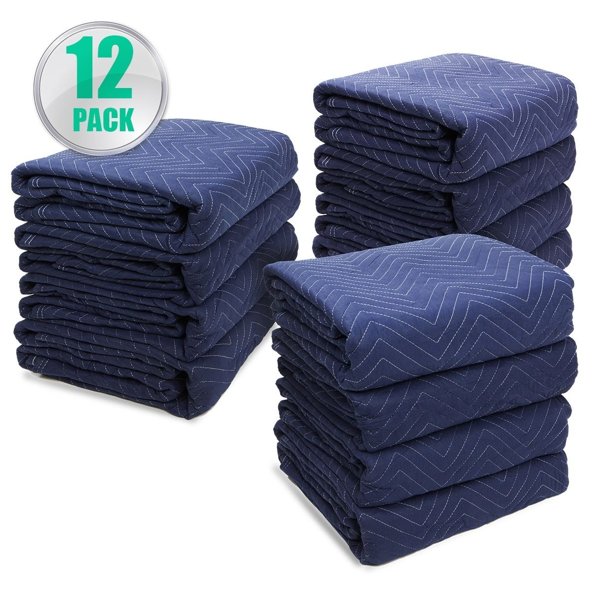 """GHP Pack of 12 Spun Bond Non-Woven Cloth 72""""x80"""" Padded Furniture Moving Blankets"""