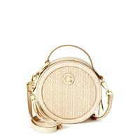 C. Wonder Julia Round Faux Straw Crossbody Bag with Texture