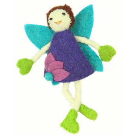 Felt Tooth - Global Crafts Hand Felted Tooth Fairy Pillow - Brunette with Purple Dress