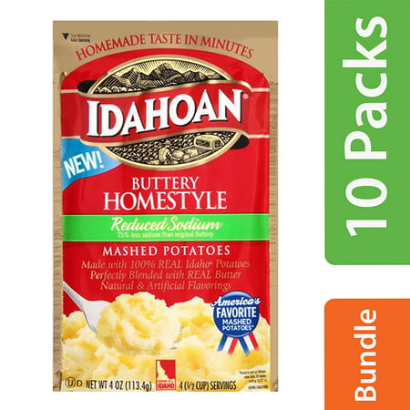 (10 Pack) Idahoan Buttery Homestyle Reduced Sodium Instant Mashed Potatoes, 4 oz