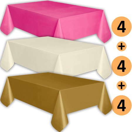 12 Plastic Tablecloths - Hot Pink, Ivory, Gold - Premium Thickness Disposable Table Cover, 108 x 54 Inch, 4 Each Color - Gold Plastic Tablecloths
