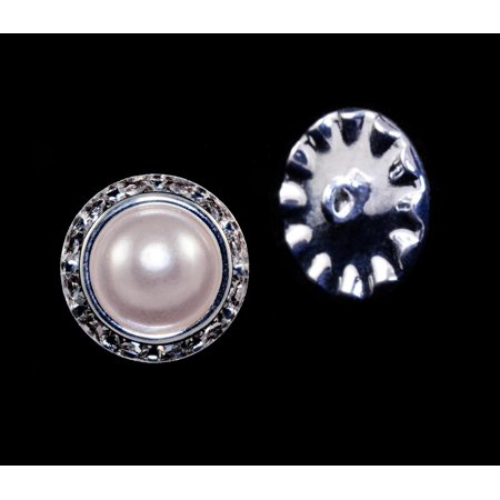 16mm Rondel Button with Imitation Pearl Center - 11789/16mm