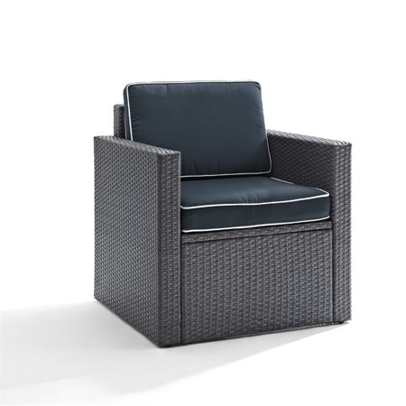 Image of Crosley Palm Harbor Outdoor Arm Chair In Grey Wicker With Navy Cushions