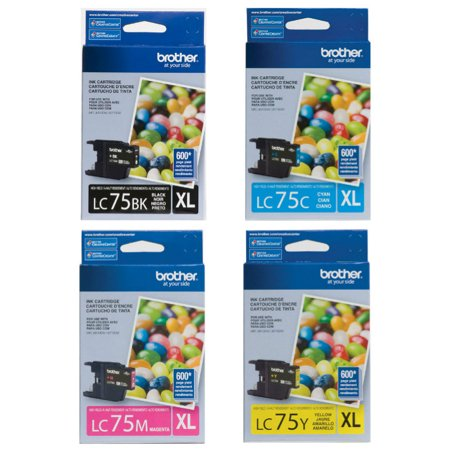 Brother Genuine LC-75 (LC75BK, LC75C, LC75M, LC75Y) High Yield Ink Cartridge 4-Color Set (Ink Cartridges Brother Lc 75)