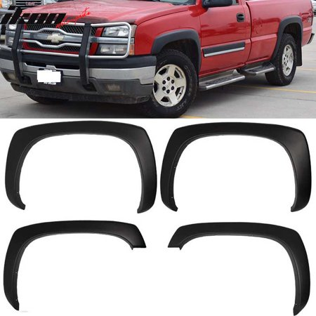 Chevy Truck Drivers Fender (ikon 4pcs fender flare for 99-06 chevy silverado smooth matte black oe)