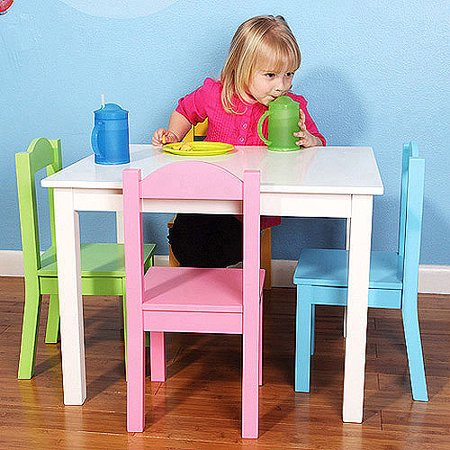 tot tutors kids wood table and 4 chairs set multiple colors. Black Bedroom Furniture Sets. Home Design Ideas
