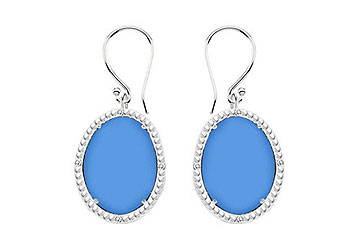 14K White Gold Blue Chalcedony and Diamond Earrings 30.16 CT TGW by Love Bright