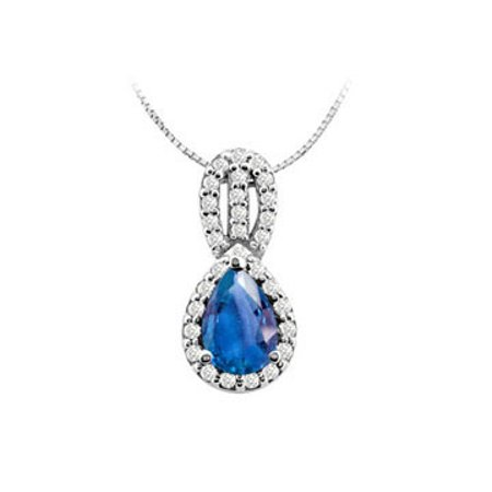 Design Pendant in 14K White gold with Created Sapphire Pear Shape and Round Cubic Zirconia 3.25 - image 1 de 2