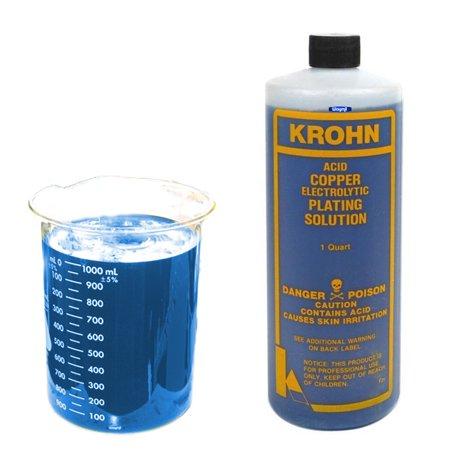 Krohn Acid Copper Electroplating Solution 1 Quart Jewelry Plating Bath Metal