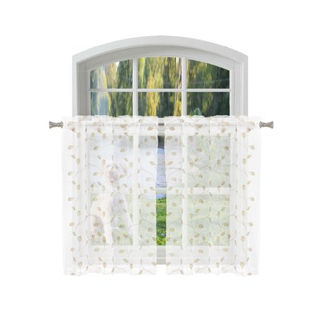 Bathroom and More KIRA Collection SHEER 2 Piece Window Curtain Café/Tier Set Pure White with Embroidered Gold/Linen and Metallic Silver Leaf Design (Pair (2) Tiers 36in L