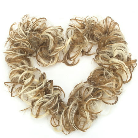 Brown Mix Blonde Hair Extensions Wedding Elastic Band Curly Updo Ponytail Hairpiece Synthetic Wig Bun for - Ginger Wig