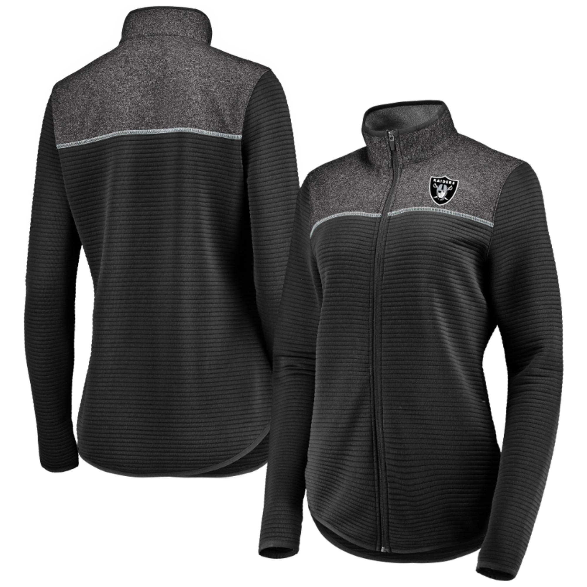 Women's Majestic Black Oakland Raiders Linear Leap Full-Zip Jacket