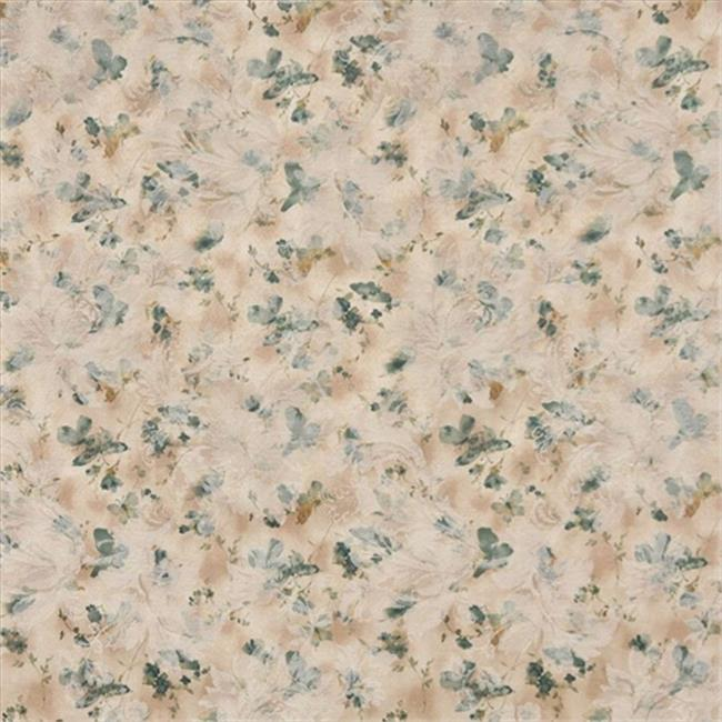 Designer Fabrics F813 54 in. Wide Green, Gold And White, Pastel Butterflies And Flowers Jacquard Woven Upholstery Fabric