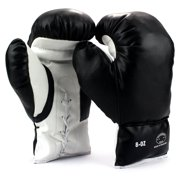 Pair of 8 Oz Children Kids Youth Lace Up Training Boxing Gloves w/ Soft Padding, Durable Construction (Black)