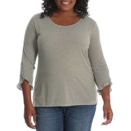 Women's Plus 3/4 Sleeve Heathered Stripe Knit Top (Versatile Knit Top)