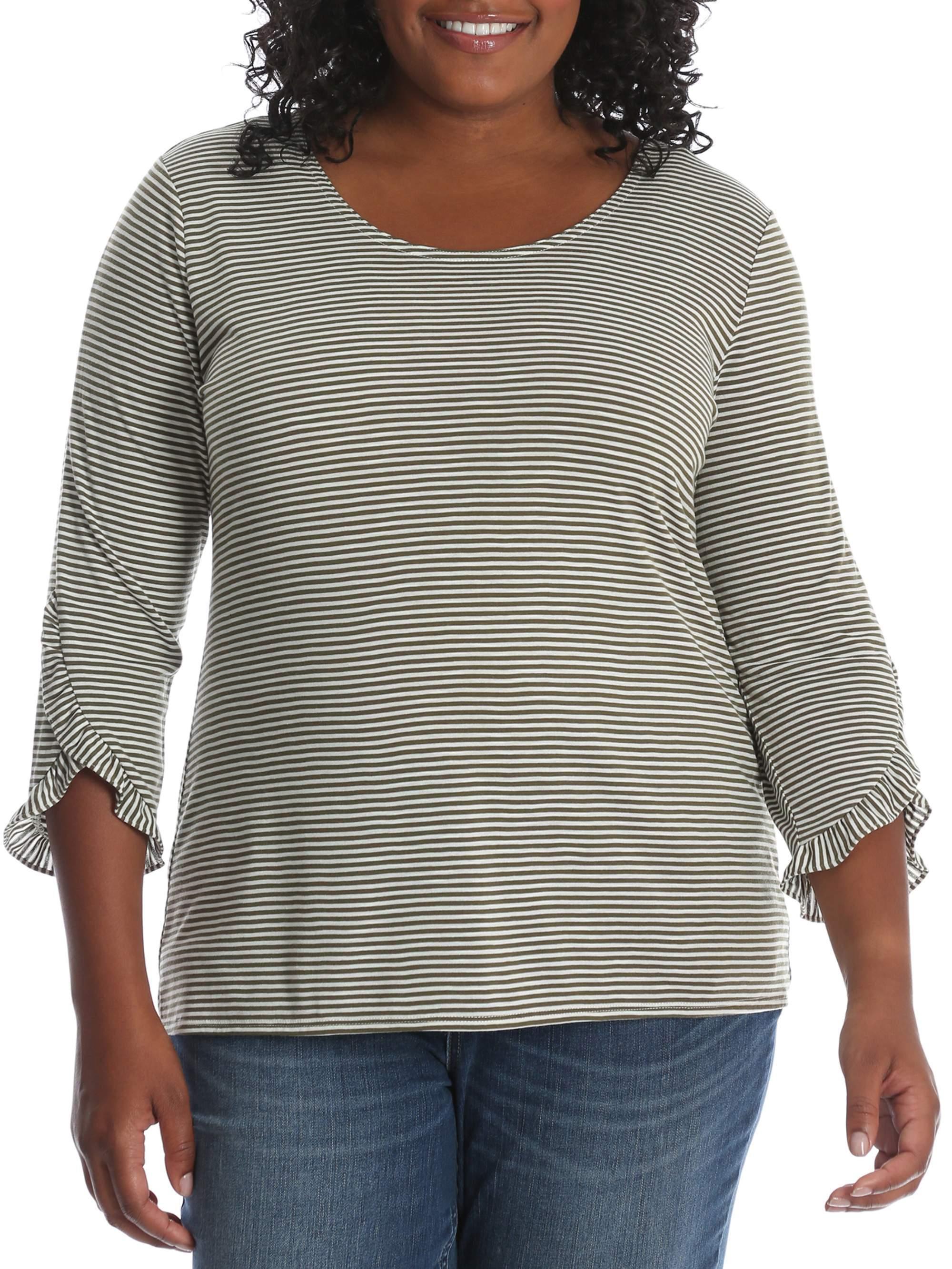 Women's Plus 3/4 Sleeve Heathered Stripe Knit Top